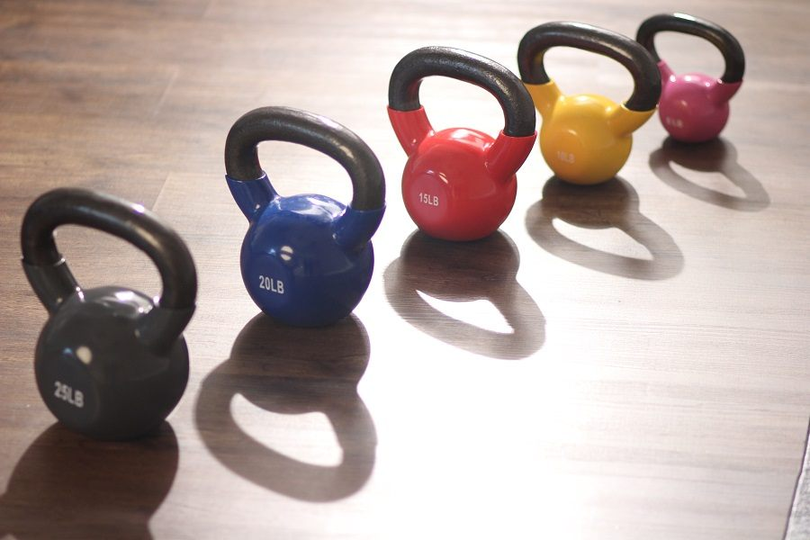 Five Different Colorful Kettlebells