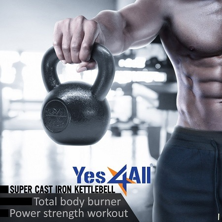 Yes4All Solid Cast Iron Kettlebell Features