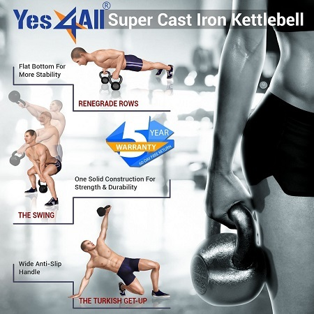 Yes4All Solid Cast Iron Kettlebell Workouts