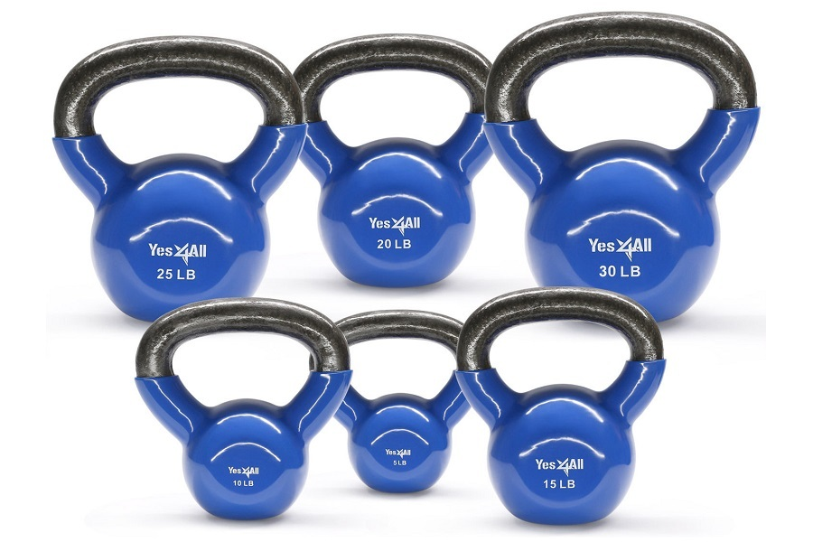 Yes4All Vinyl Coated Kettlebell Set On White Background
