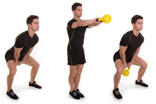 Man Doing Two Arm Kettlebell Swing