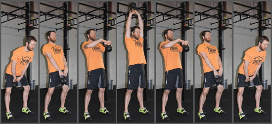 A full kettle bell swing