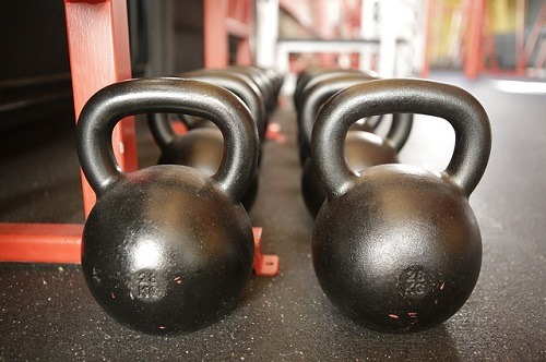 Kettlebells In a Gym