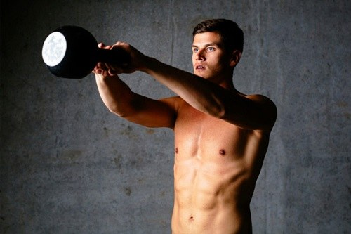Man Exercise Kettlebell Chest Loaded Swing