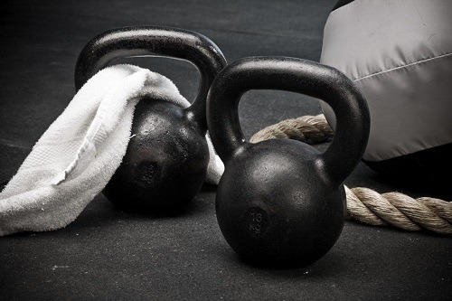 Two Black Kettlebells