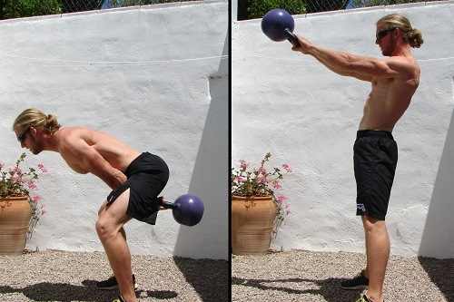 Man Showing Proper Kettlebell Swing